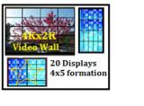 20 Displays(4Kx2K) @4x5 Video Wall